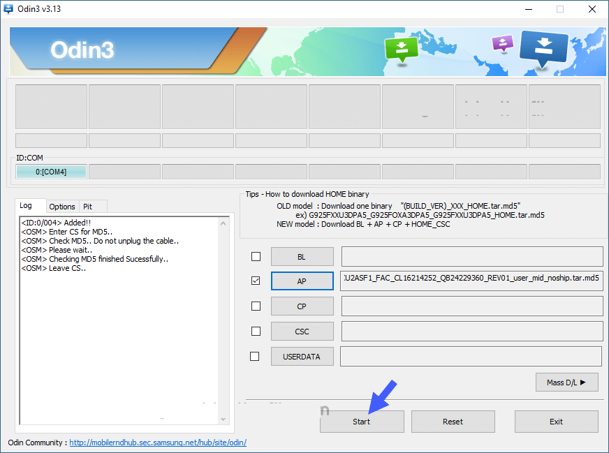 odin combination start - Download install Samsung SM-G977P Combination File